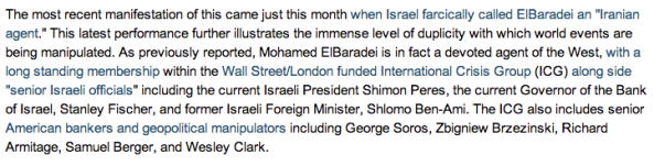 "Extract from Land Destroyer article ""Egyptian Protesters: US Stooge ""ElBaradei for President"" """